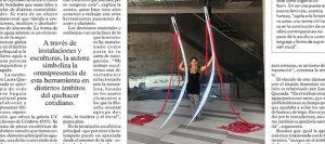 Punzante exposición de Laura Quezada en la galería CV</br>Agujas gigantes zurcen hasta los ascensores en Vitacura